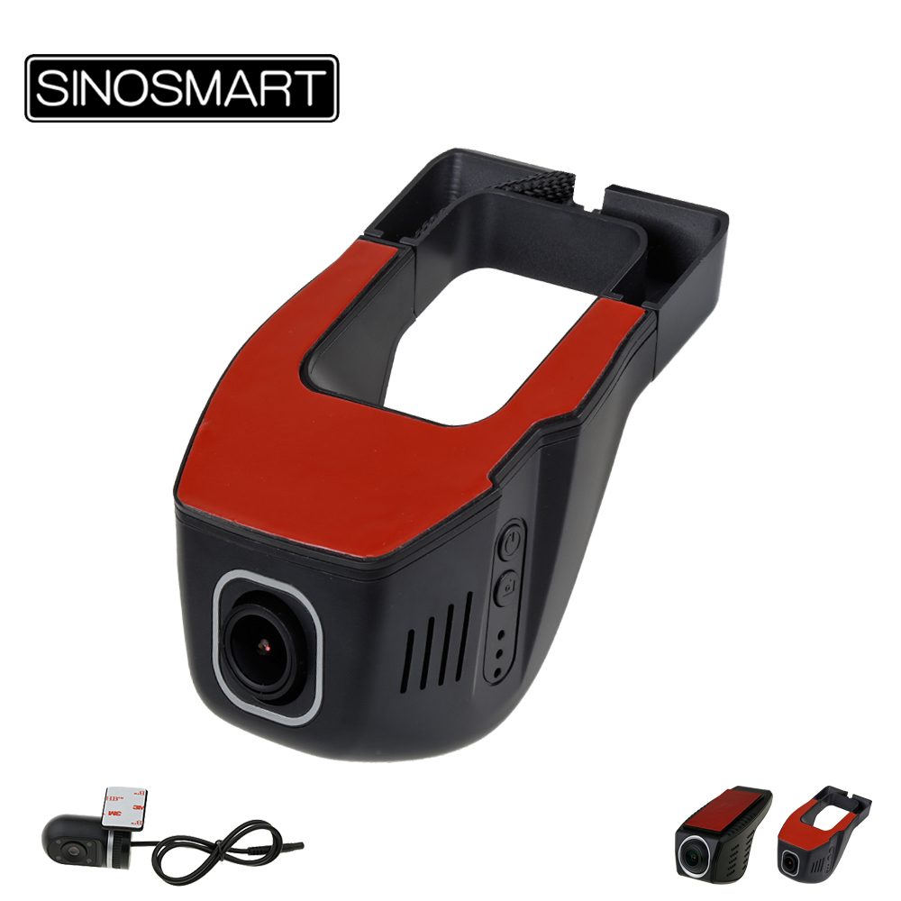 SINOSMART Universal Wifi DVR For Toyota/Chevrolet/Ford/Nissan/Kia/Hyundai Adjustable Angle Control By App Two Camera Optional