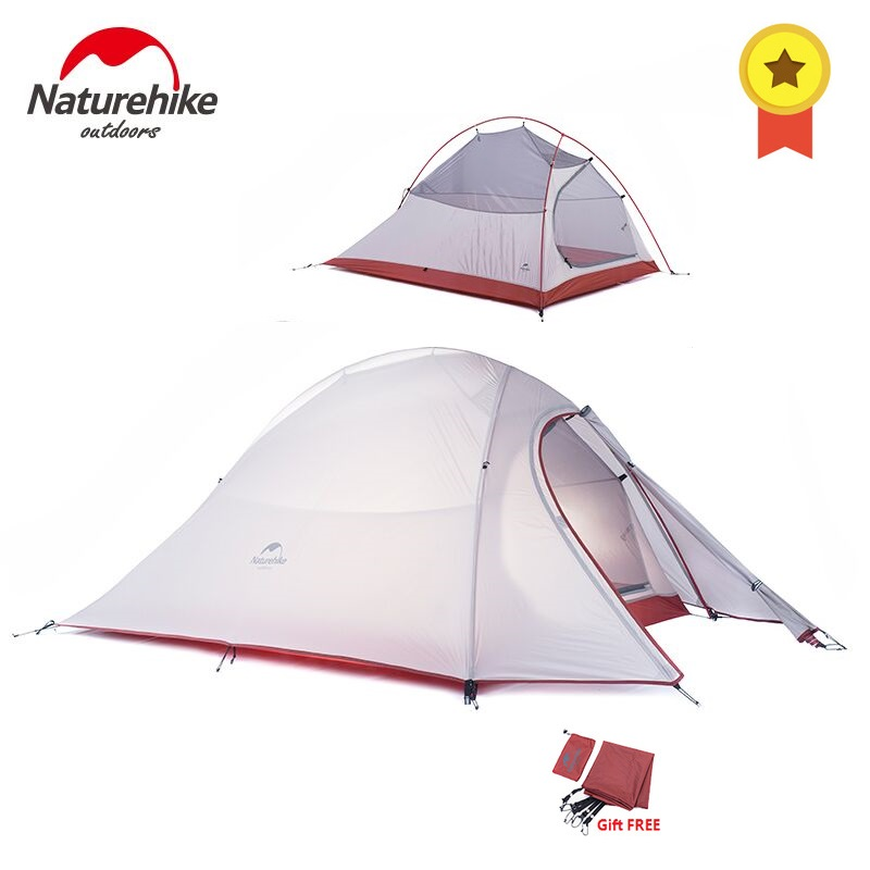 Naturehike Cloud Up Series 1 2 3 Person Ultralight Tent Camp Equipment 20D Nylon Double-layer 2 Man Winter Camping Tent with Mat