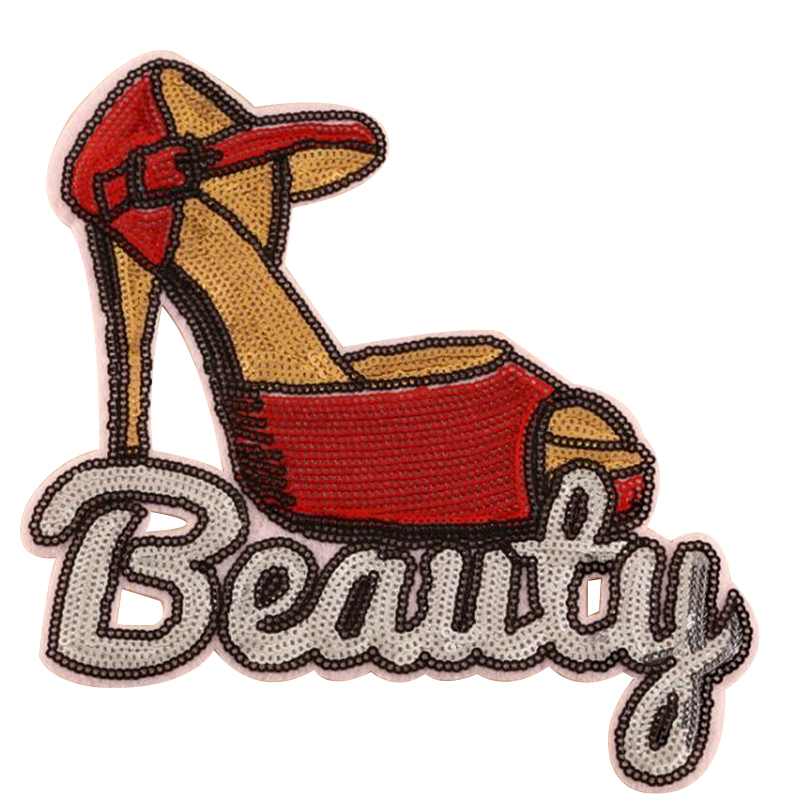 Girl men clothes sequins patch deal with it 20cm high-heeled shoe iron on patches for clothing t shirt/jeans/dress free shipping