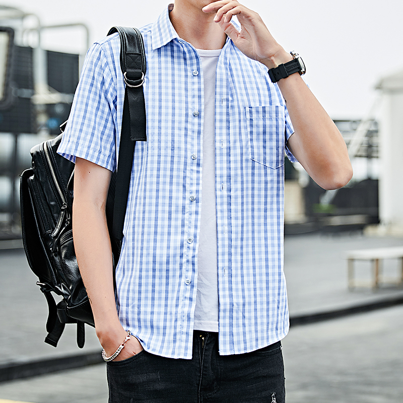 LOLDEAL Blue Plaid Shirt Men Shirts New Summer Fashion Chemise Homme Mens Checkered Short Sleeve Blouse