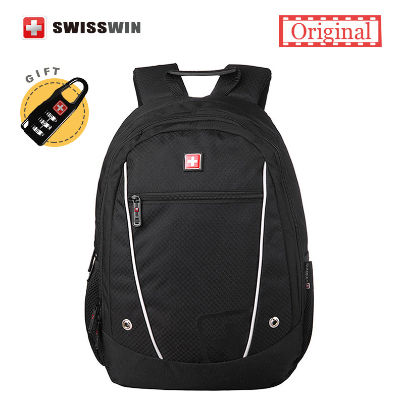 Swiss Small Backpack Unisex Casual Backpack Japan Korean Style School Backpack for Teenage Girls and Boys Daypack Black Red qb pokemon cartoon backpack pikachu school backpack for teenage girls boys school bags travel daypack pokeball mochila