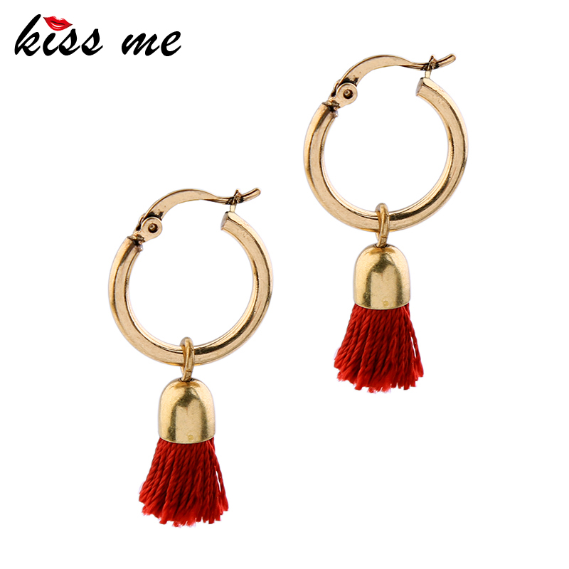 KISS ME 2 Colors Black Red Tassel Earrings New Brand Copper Alloy - Fashion Jewelry