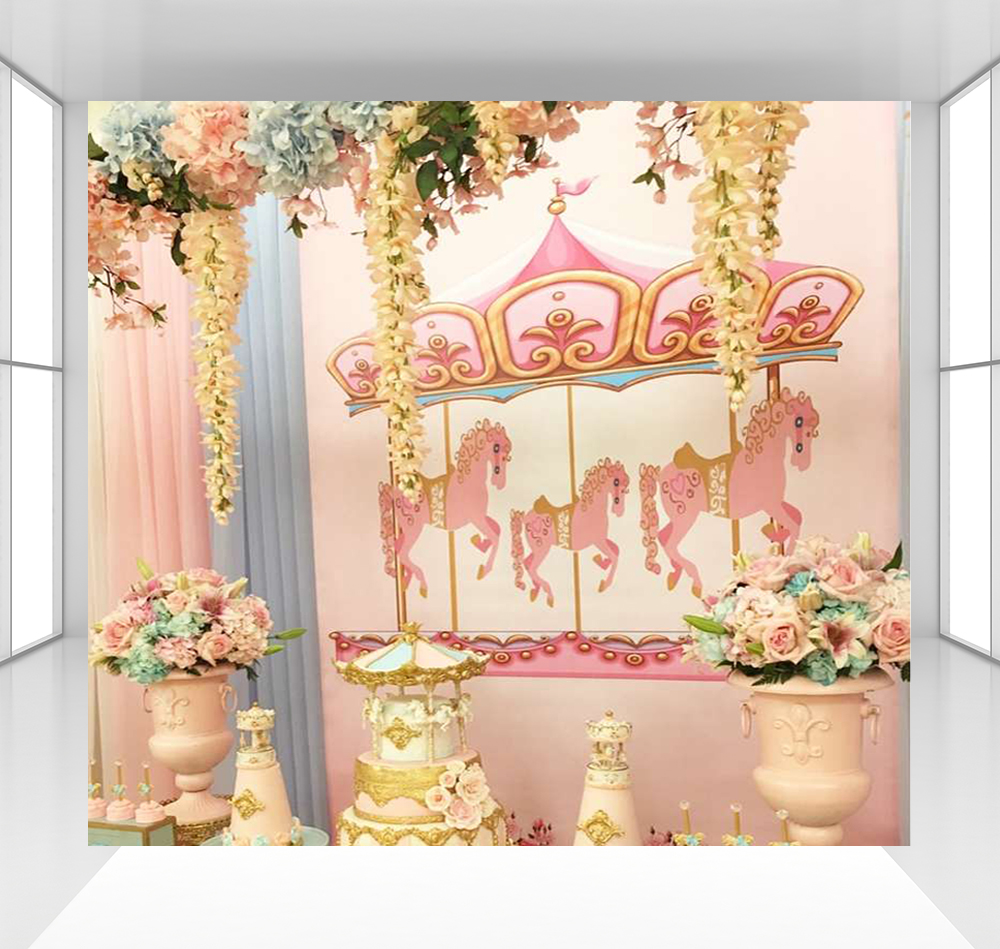 Fond rose carrousel photographie décors bébé enfants fête d'anniversaire décoration papier peint table dessert CZ-164