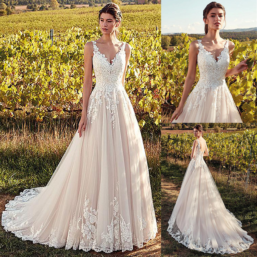 Elegant Tulle V-neck Neckline A-line Wedding Dresses With Lace Appliques Nude Pink Bridal Gowns Vestido De Noiva 2019