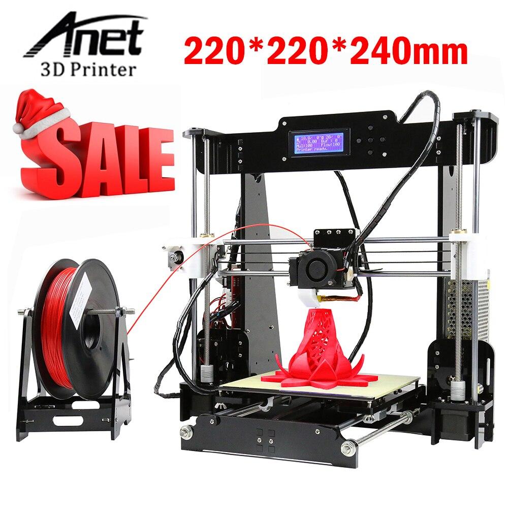 RU DE Stock) Anet A8 3D Imprimantes 3D Imprimante Kits DIY Kit 3D imprimante avec 8 GB Carte Mémoire de PLA Filament Extra Chaude Fin Accessoire