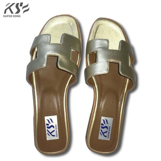 c3b685764defb2 Designer slide sandalen vrouwen luxe merk designer slipper echt koe echt  lederen dame schoenen H flats