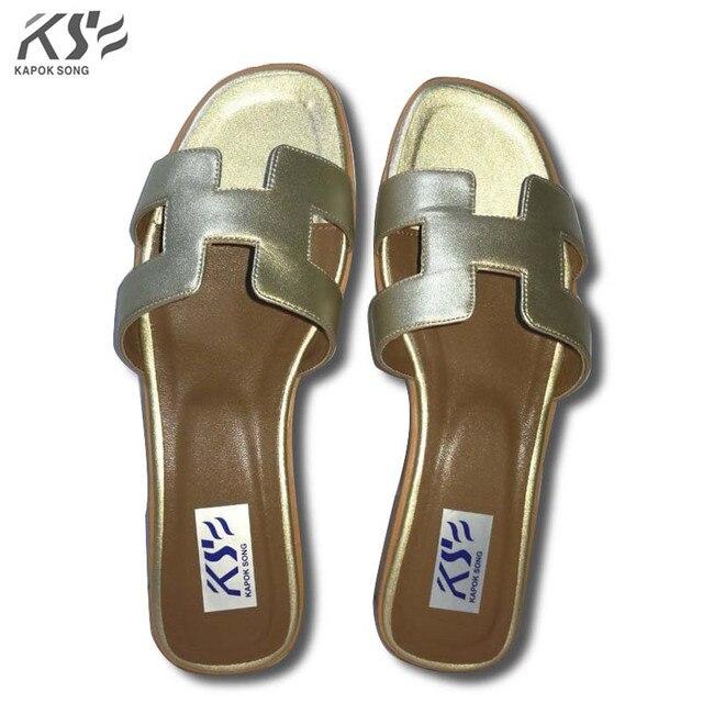 b90b7a3c961ad5 designer slide sandals women luxury brand designer slipper genuine cow  really leather lady shoes H flats slippers women fashiona