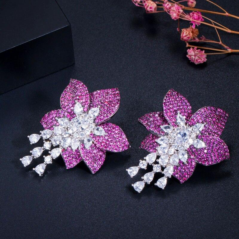 CWWZircons Geometric Designer Big Rose Red Flower Cubic Zircon Luxury 925 Silver Drop Earrings for Women Brand Jewelry CZ458