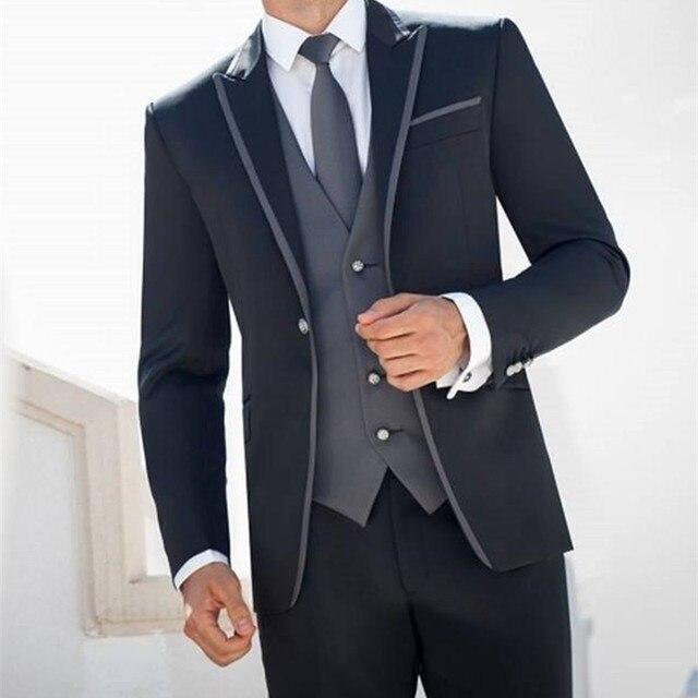 d4709ef0d4271 Costume Homme mariage negro novio Esmoquin padrinos de boda trajes para  hombres prom novio hombres traje
