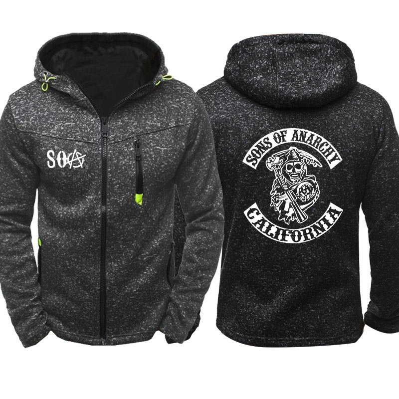 SOA Sons Of Anarchy The Child Fashion SAMCRO Men Sportswear Zipper Hoodies Skull Male Casual Sweatshirt Fleece HipHop Warm Hoody