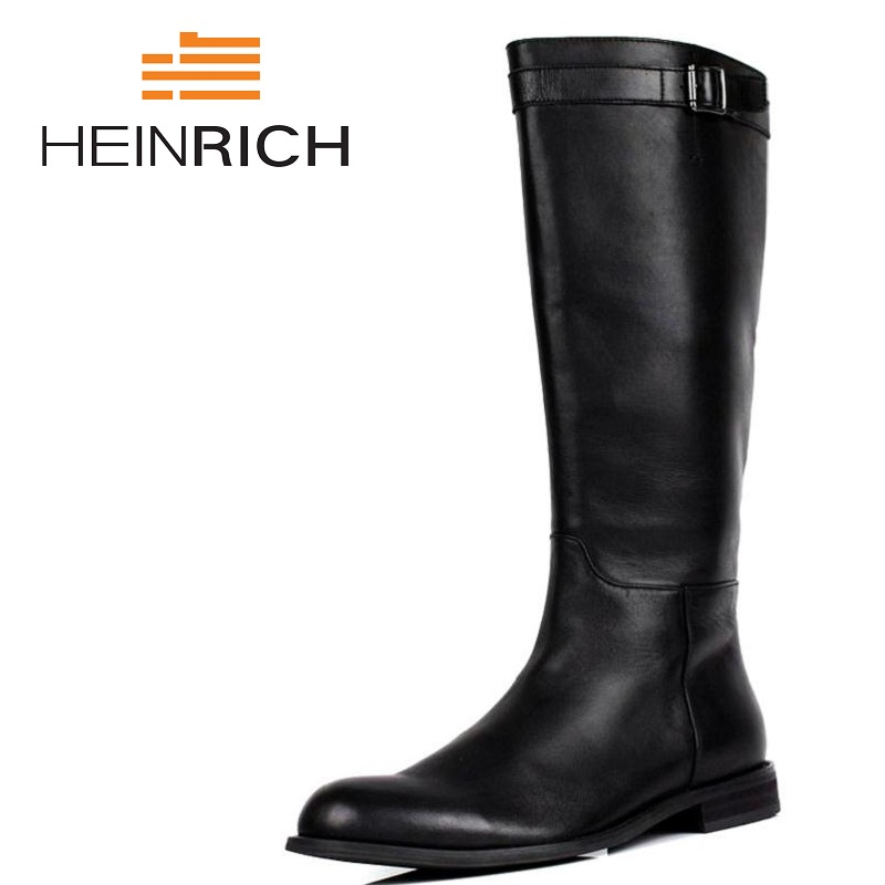 HEINRICH New Men Motorcycle Boots Vintage High Top Combat Boot Genuine Leather Buckle  Boots Men Shoes Sapato MasculinoHEINRICH New Men Motorcycle Boots Vintage High Top Combat Boot Genuine Leather Buckle  Boots Men Shoes Sapato Masculino