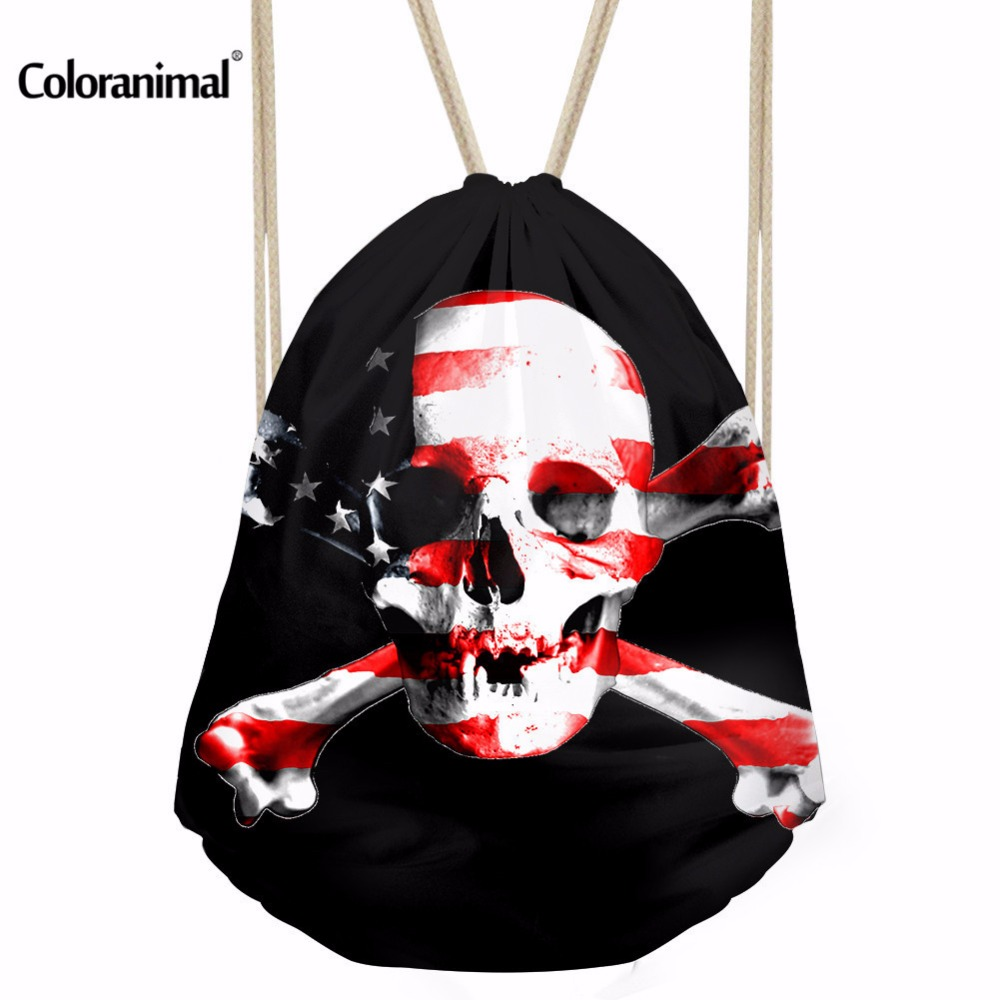 Coloranimal 3D Printing Punk Skull Drawstring Bag Women Daily Mochila Feminina Shoulder Bag Boys Casual Travel Soft Storage Bag