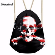 Luggage Bags - Drawstring Bags - Coloranimal 3D Printing Punk Skull Drawstring Bag Women Men Daily Mochila Feminina Backpack Casual Travel Softback Storage Bags