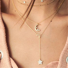 2019 fashion classic ladies necklace gold multi-layer stars moon pendant simple retro hot sale birthday jewelry gift