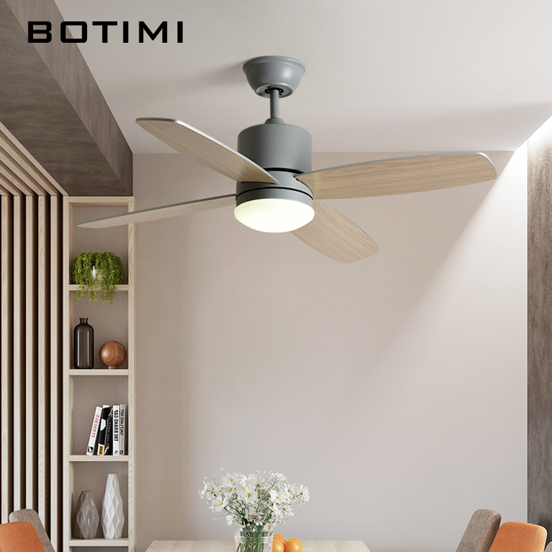 BOTIMI Nordic Led Ceiling Fans With Lights For Living Room 220V White Ventilator White Ceiling Fan Light Indoor Ventilateur Lamp