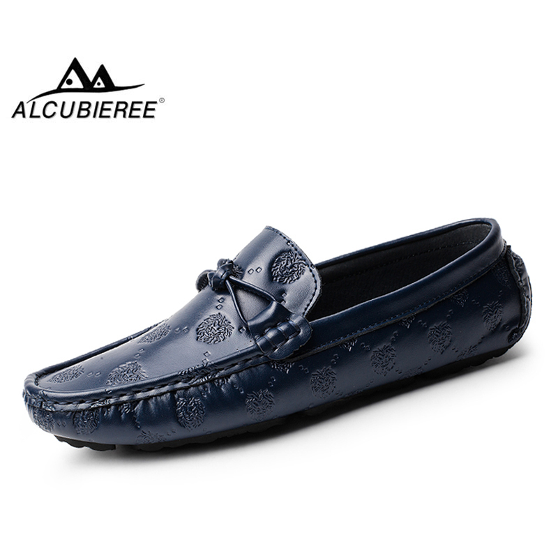 ALCUBIEREE Brand Luxury Driving Shoes Men Genuine   Leather   Loafers Mens Fashion Embossing Moccasins Slip on Flats Boat Shoes