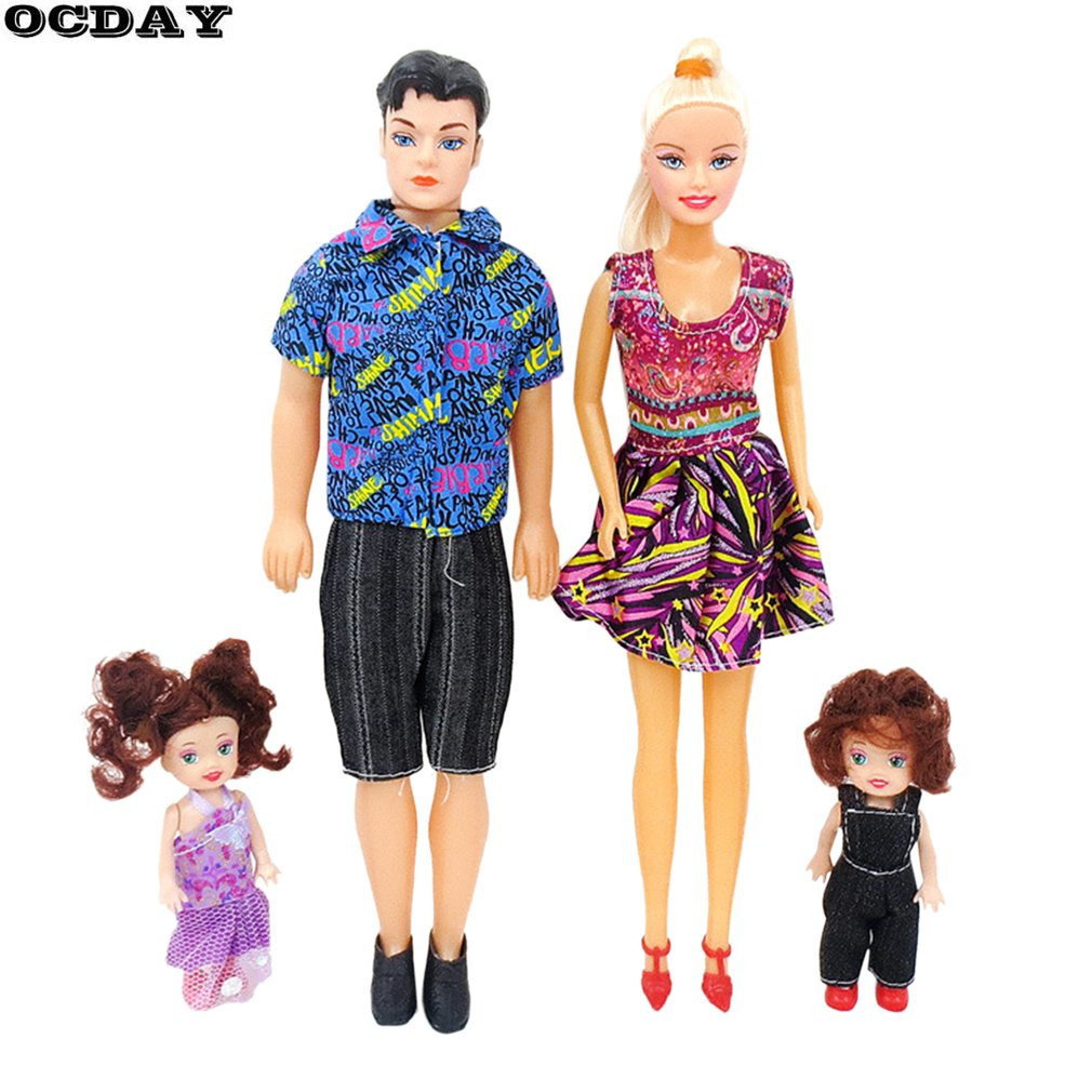 4pcs Baby Dolls Toys Family Suits Father+Mother+2 Kids Dress Up Kit Children Toys Kids T ...