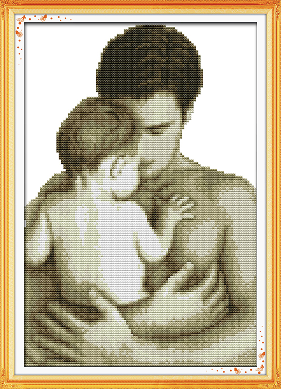 Paternal love11CT Pattern on the canvas DMC 14CT Cross Stitch kitsneedlework full embroidery for SetsDad and Baby Home Decor