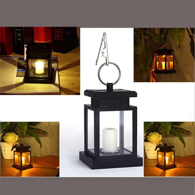 New Classic Outdoor Solar Power Yellow LED Candle Light Yard Garden Decoration Tree Lantern Hang Hanging Lamp LED Spotlighting