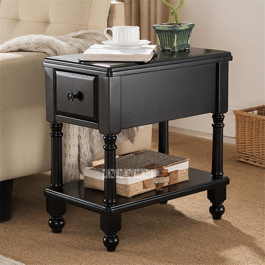 TS-980 salon MDF solide jambe bois Table basse Table d'extrémité créative en caoutchouc bois Table d'appoint petite Table d'extrémité avec 1 tiroir