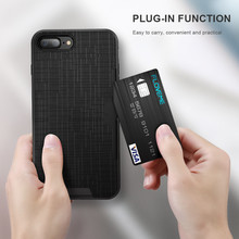 DOEES Functional Case For iPhone 7 7 Plus Card Holder Slot Cross Grain PC Back Breathable TPU Layer Cover For iPhone 7 Plus Case