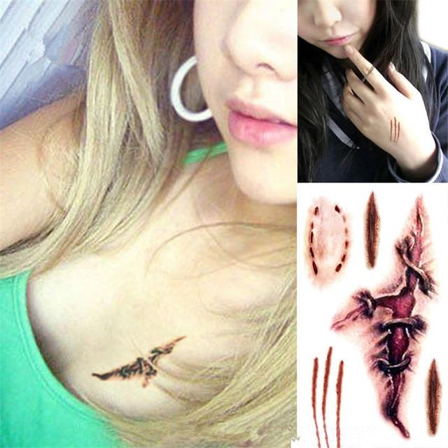 KESMALL 30PCS New Temporary Tattoo Sticker Halloween Terror Wound ...