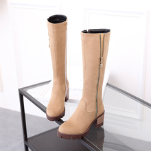 Women Black Knee High Boots Suede Leather Long Boots Autumn Winter Ladies Fashion Warm Chunky Heel Work Shoes Snow Boots YZ07