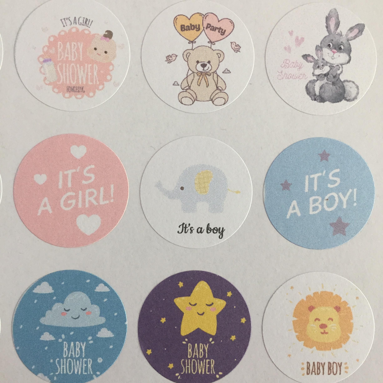 120 Pieces 3cm Baby Shower Sticker Newborn Baby Shower Gift Adhesive Gift Sticker
