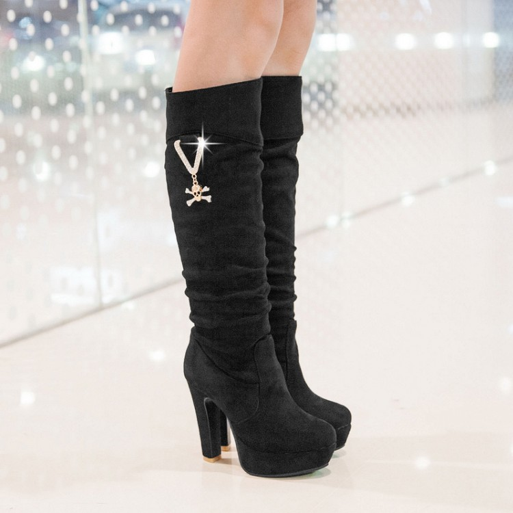 ФОТО Small yards 32 - 33 high-heeled shoes boots plus size 40 - 43 customize big drum coarse thigh boots size free shipping