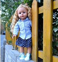 Blonde Hair Blue Eyes Girl Doll Toys  Princess Birthday Gift 18 Alexander Doll American Girl Dolls in Blue Plaid Shirt