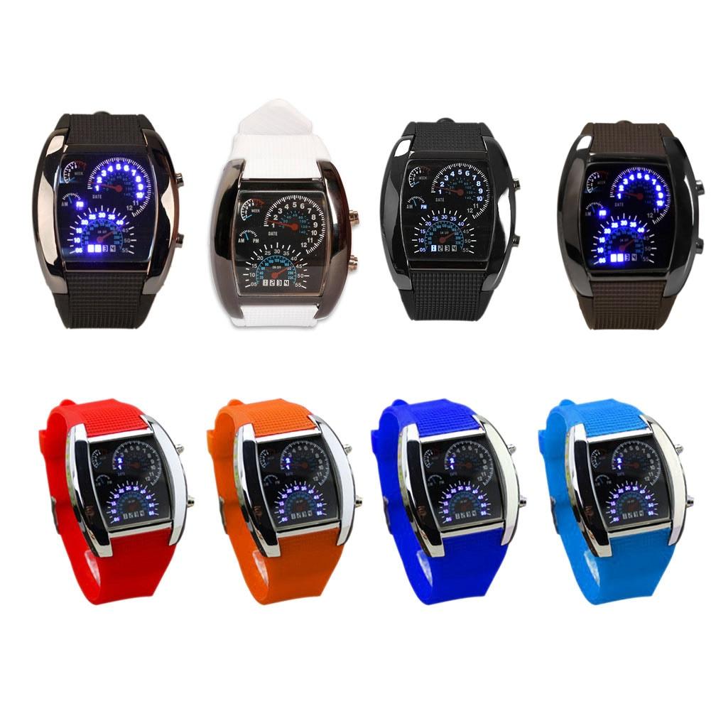 Men Military LED Backlight Digital Wristwatch Sports Watch Rubber WatchBand Rectangle WatchFace Adjustable Brightness LXH