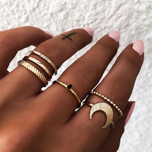 KISS WIFE 6Pcs/lot Boho Gold Color Ring Set For Women Waterdrop Crystal CZ Knuckle Midi Finger Rings Jewelry Bague Homme