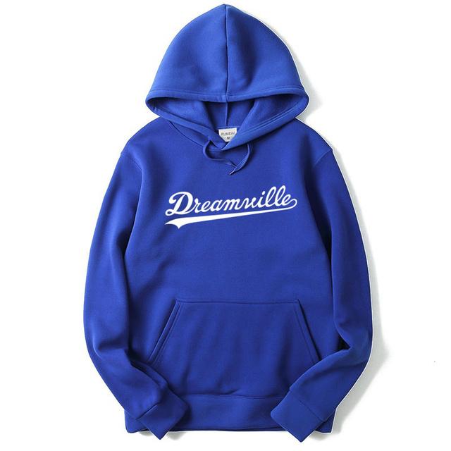 RUMEIAI 2017 New Hoodies Men Hip Hop DREAMVILLE J Cole Logo Hooded Swag Letter Fleece J Cole Hoodie Winter Hoodies Men Pullover
