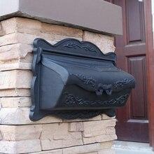 Лучшая коробка литой алюминиевый настенный почтовый ящик-черный