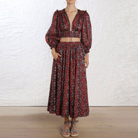 2018 Vocation And Beach Vintage Long Sleeve Dark Red Top And Long Skirt Women 2 Pieces