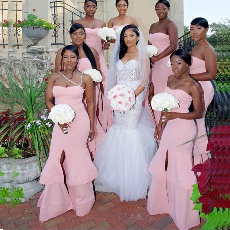 Pink Satin   Bridesmaid     Dresses   Strapless Split Tiered Skirt Long Mermaid Wedding Party   Dress   Plus Size 2018 Maid Of Honor Gowns
