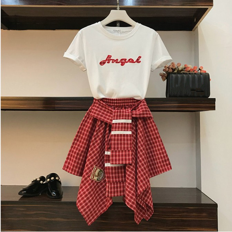 2019 New Summer Two Piece Set Women's Cotton Letter Appliques T Shirt And Elastic Waist Irregular Cross Strap Plaid Skirt Sets