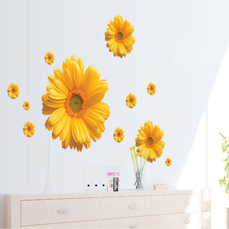 New Decorative Combination DIY Flower 3D Wall Stickers Chrysanthemum ...