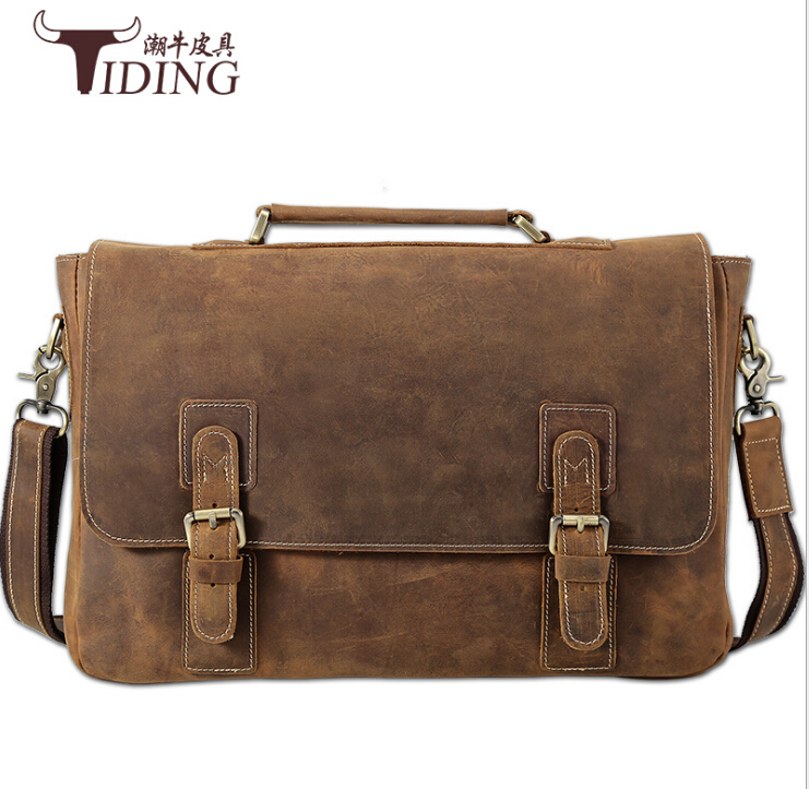 men crazy horse real leather brown briefcases 2017new brand vintage man handbags genuine leather file laptop travel shoulderbags in Briefcases from Luggage Bags