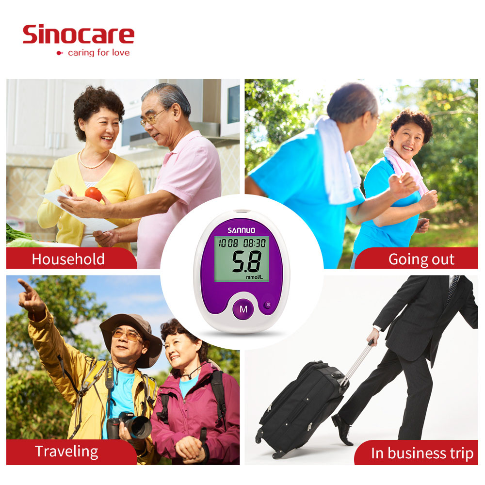 SINOCARE Anwen Codefree Blood Glucose Meter Glucometer with Vial Test Strips Free Lancets for Parents Diabetics Seniors Pregnant in Blood Glucose from Beauty Health
