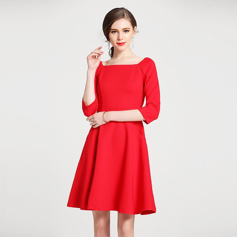 Rouge Nouvelle Au Red Demi De Manches Multiflora Casual Fête Dress noir Robe longueur Col Élégant Élégante Bureau Carré UIUqgOx