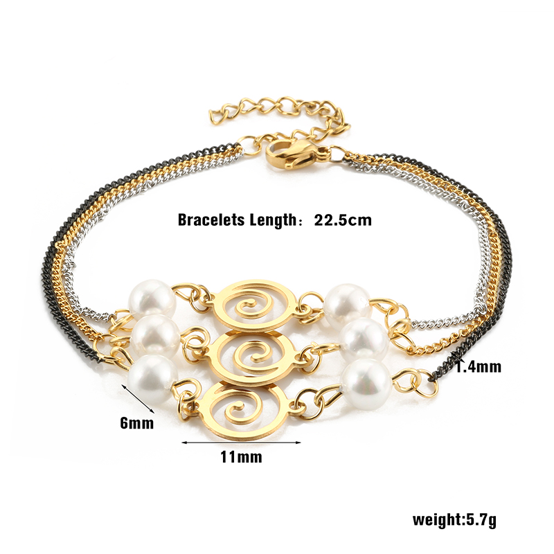 MSX Fashion Bracelet Women Man 316L Stainless Steel Gold Plating 3 Layers Long Bangle Wedding Party Engagement Jewellery Gift