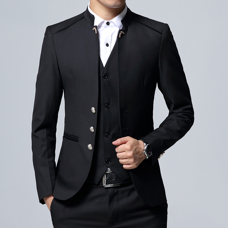 high quality Man three piece suits sets / Male Blazers Jacket Vest Pants Business coat trousers Casual Suit