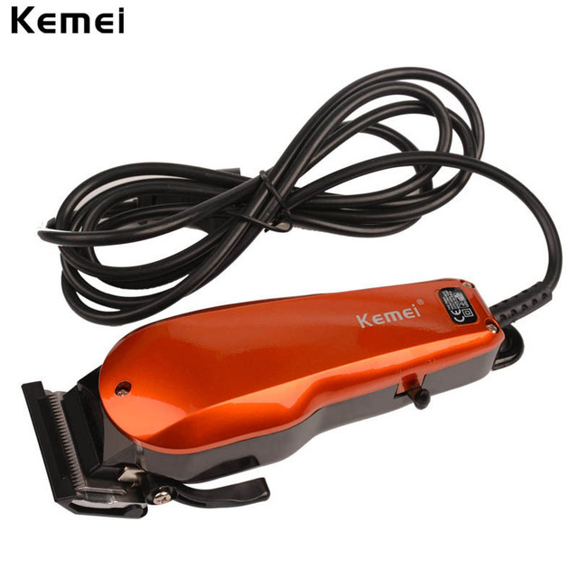 Kemei 110-240V Household Trimmer Professional Classic Haircut Corded Clipper for Men Cutting Machine with 4 Attachment Combs 193