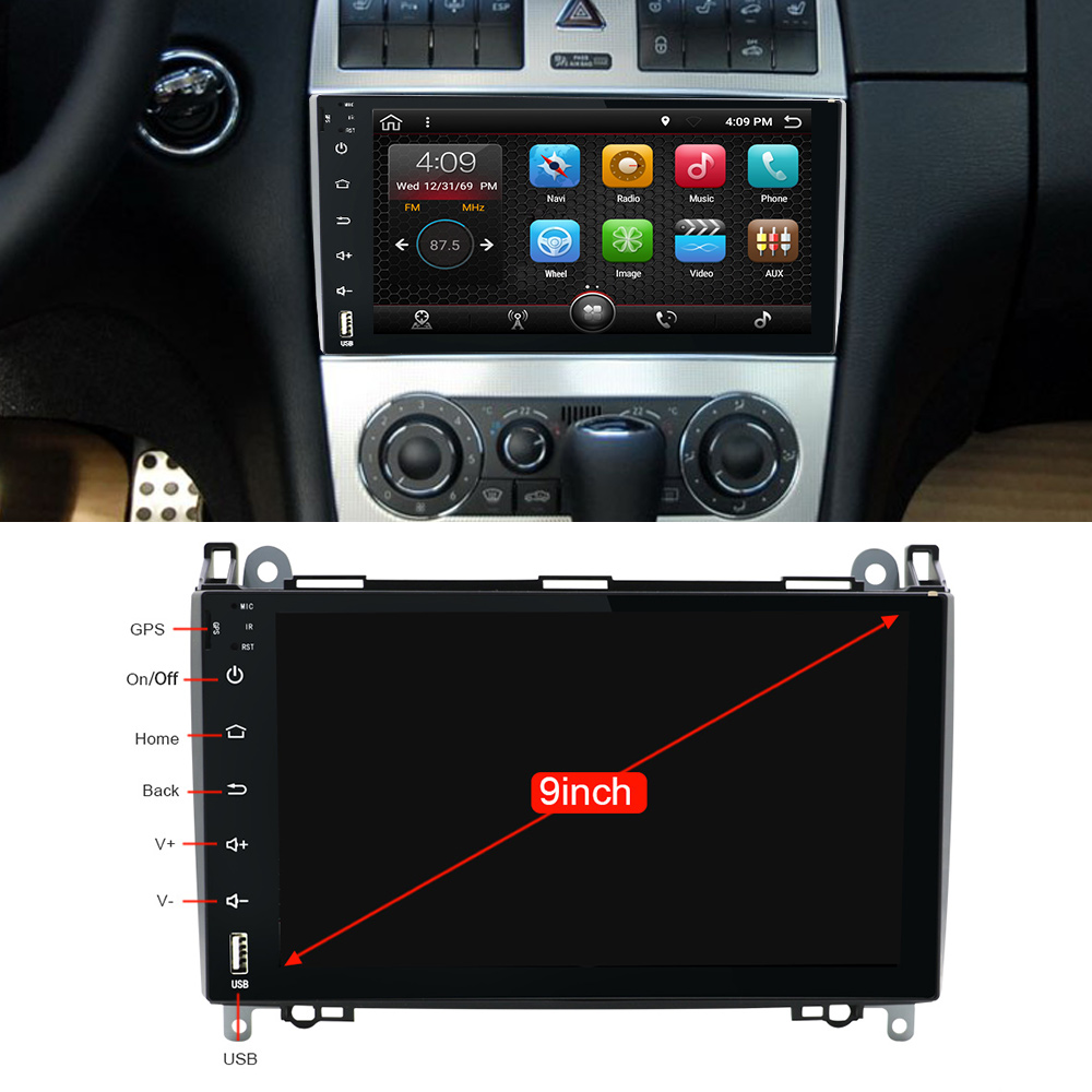 Cheap Android 9.0 2din Auto radio Car DVD multimedia for Mercedes Benz B200 A B Class W169 W245 Viano Vito W639 Sprinter W906 WIFI GPS 1