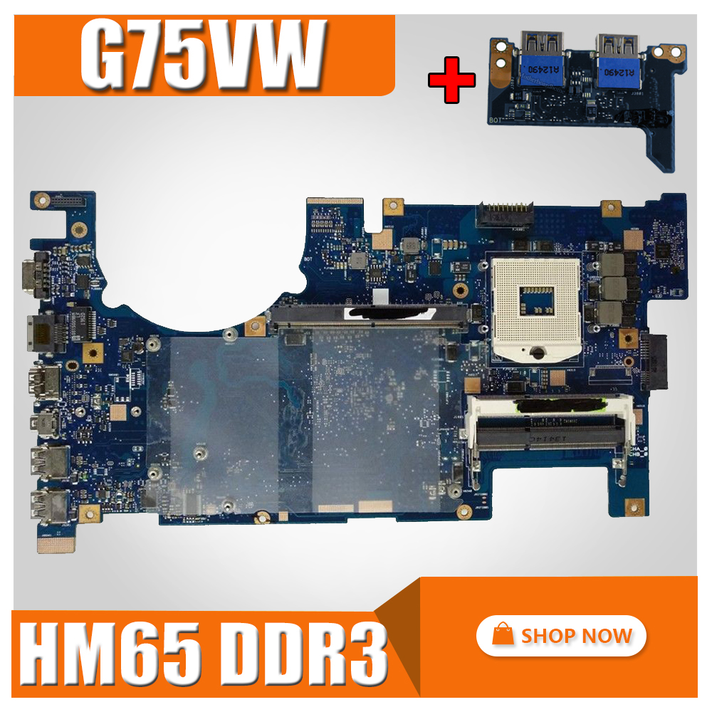 send board G75VW Motherboard 2D HM65 DDR3 For ASUS G75VW G75V G75VX Laptop motherboard G75VW Mainboard