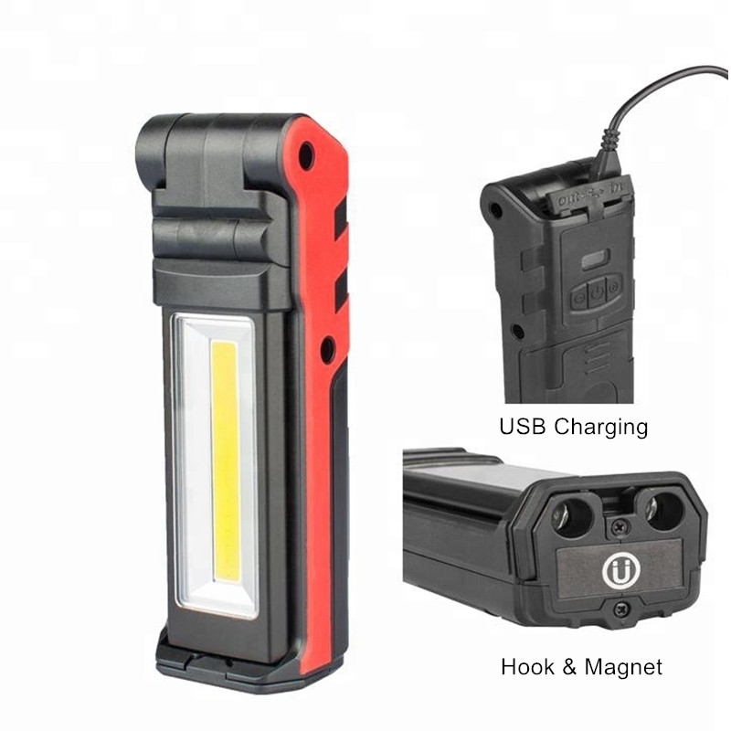 USB Rechargeable Working Light Dimmable COB LED Flashlight Inspection Lamp with Magnetic Base & Hook Outdoor Power Bank