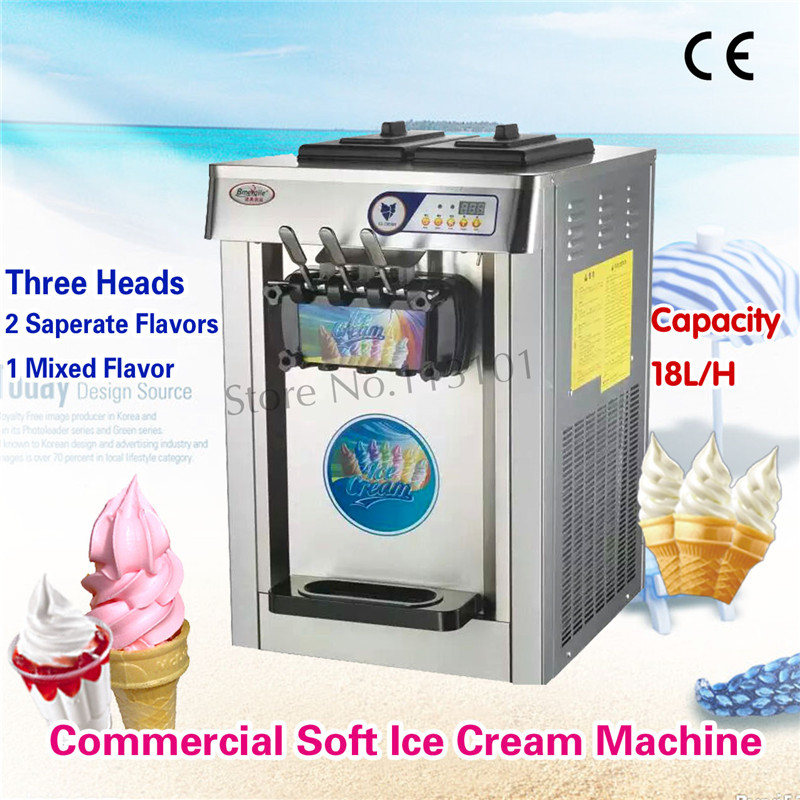 Commercial Ice Cream Maker Stainless Steel Soft Ice Cream Machine Digital Contol System 3 Heads Desktop vik max adult kids dark blue leather figure skate shoes with aluminium alloy frame and stainless steel ice blade