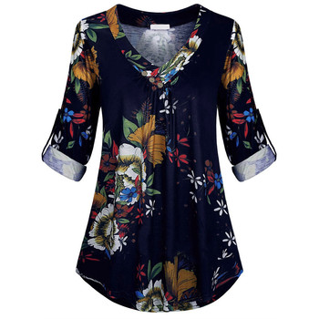 Blouse 5xl Plus Size Women Tunic Shirt Autumn Long Sleeve Floral Print V-neck Blouses And Tops With Button Big Size Clothing #11