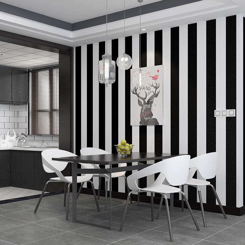 Modern Black White Horizontal Vertical Stripes Wallpaper For Walls